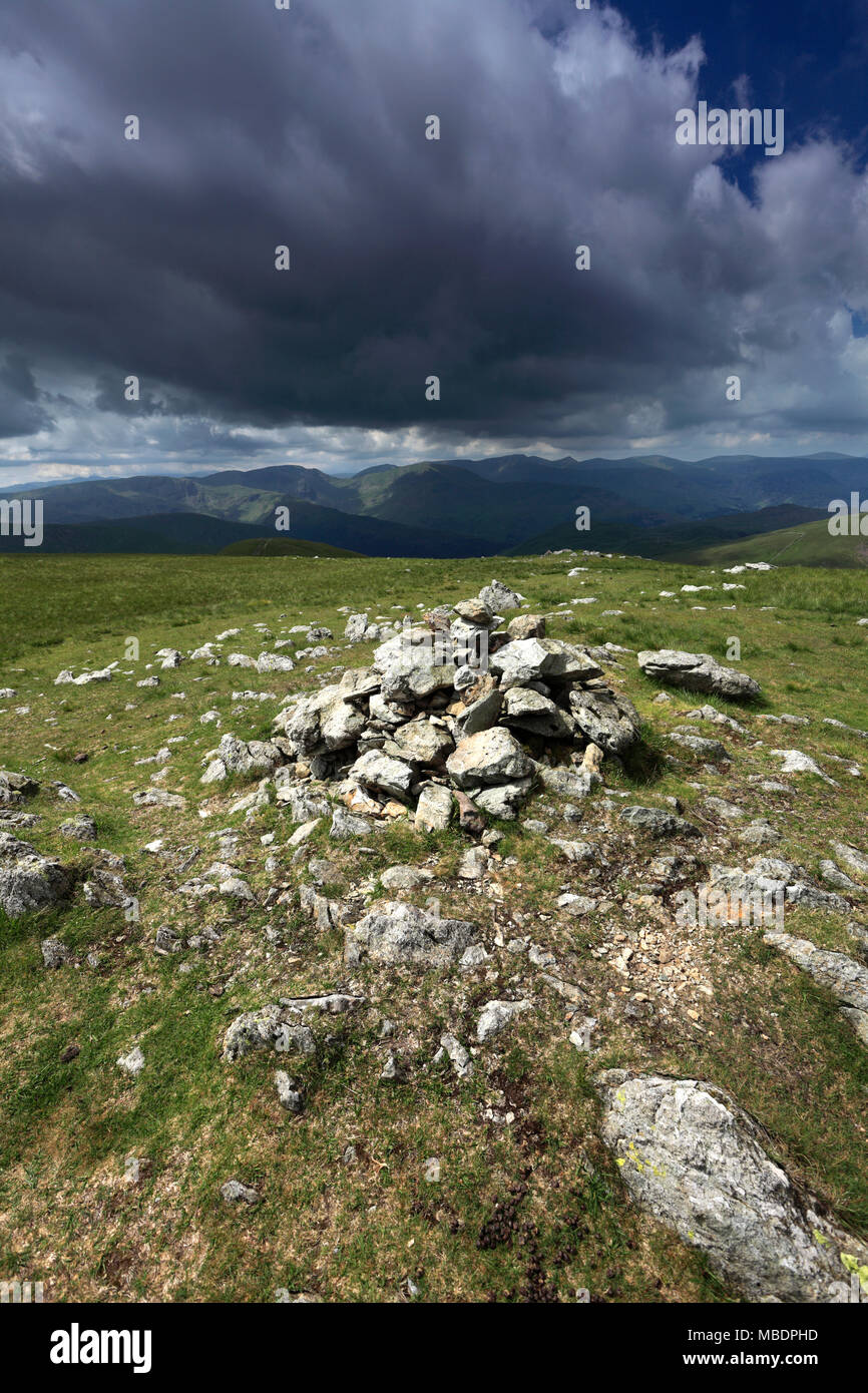 Summit cairn of Rampsgill Head fell, Lake District National Park, Cumbria County, England, UK - Stock Image