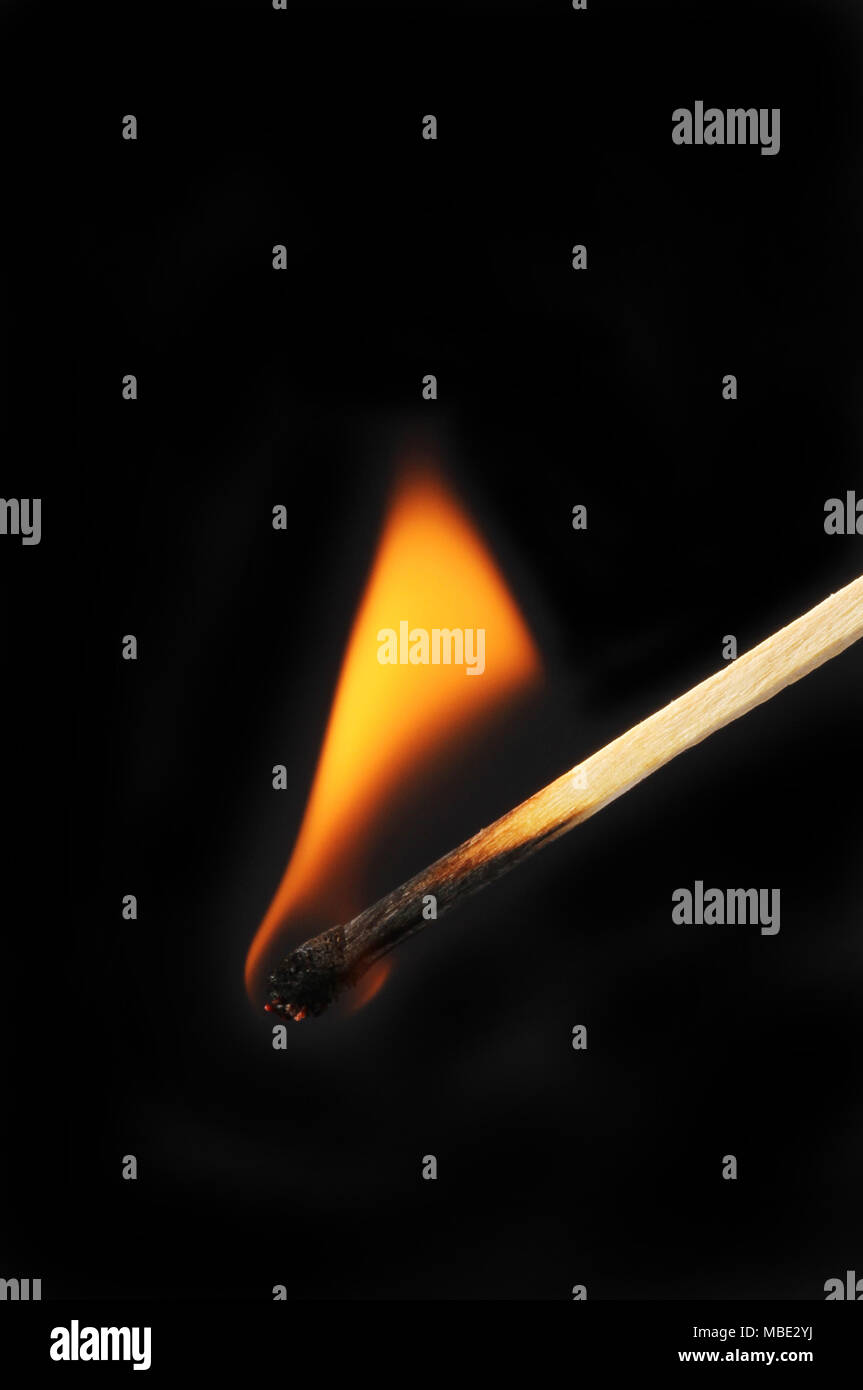Burning matchstick against a black background - Stock Image