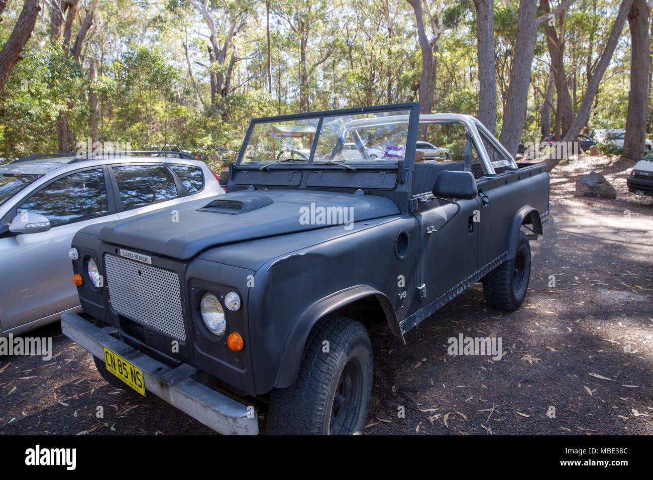 Convertible soft top land rover defender parked in Australia - Stock Image