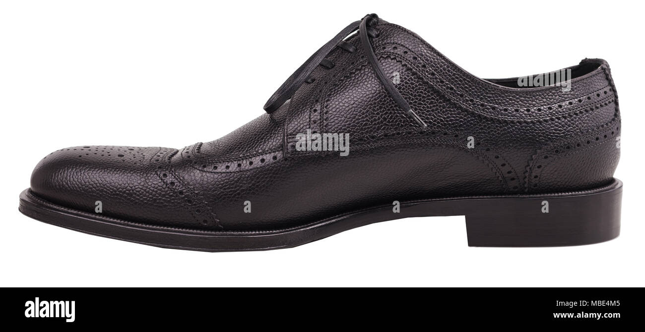 Perfect, classic men's footwear. Elegant black shoes on a white background. - Stock Image