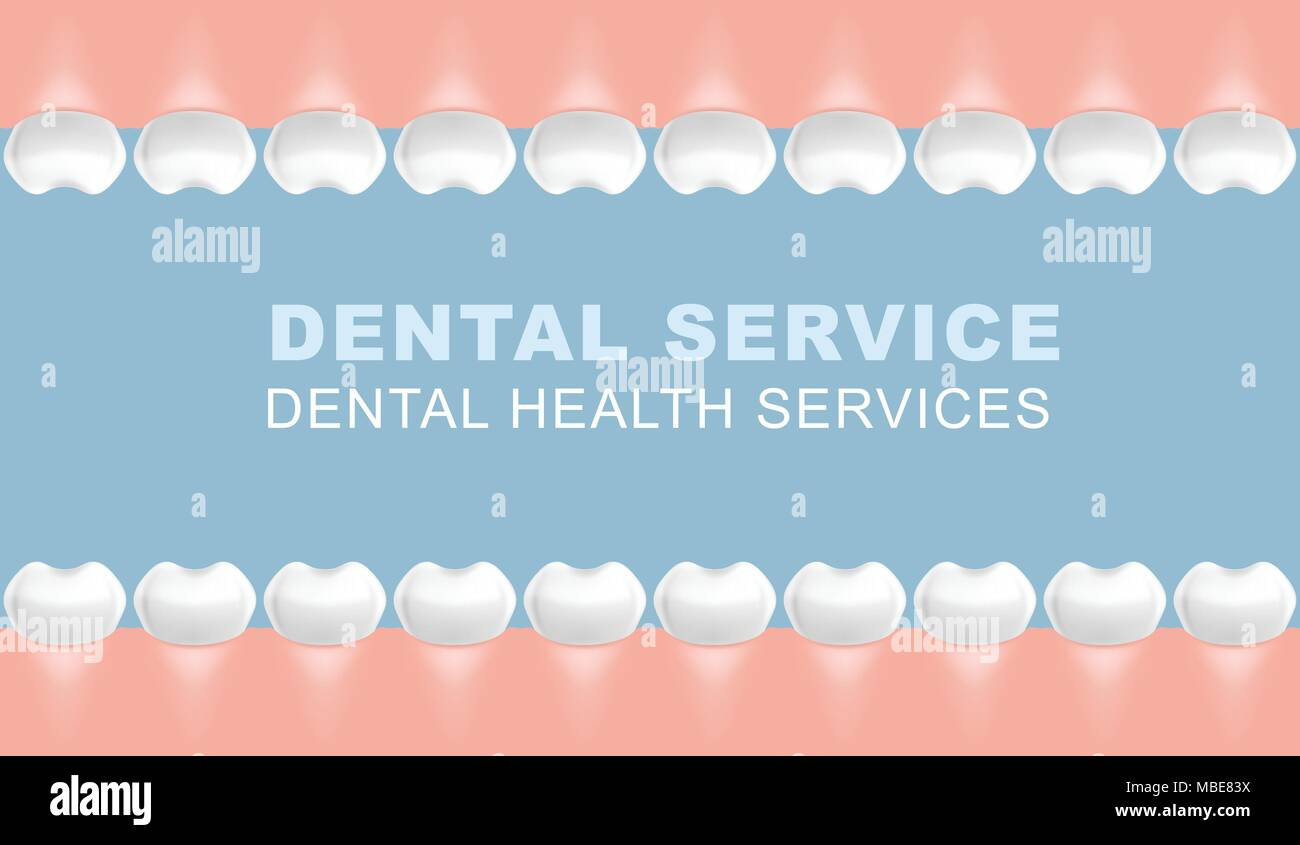 Dental poster with frame of molars - row of teeth - Stock Image
