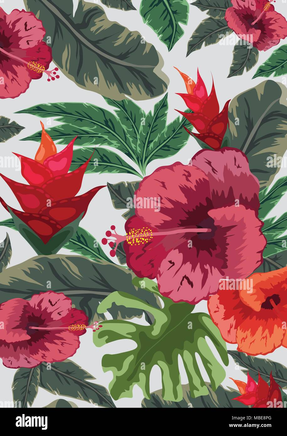 Hand draw tropical flower. Blossom cluster pattern background - Stock Vector