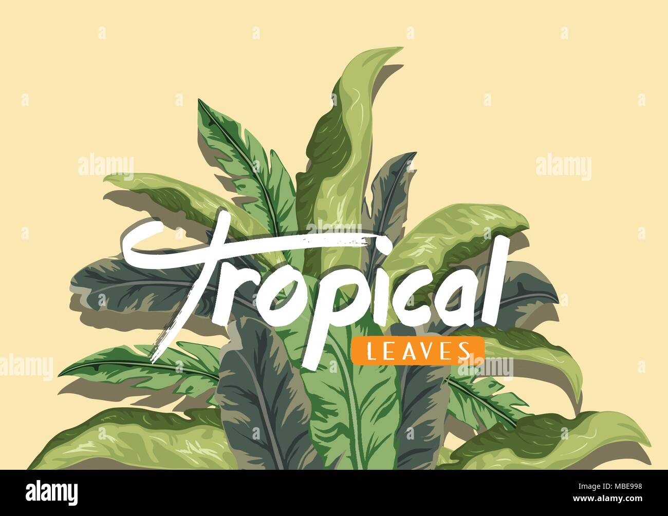 Bright tropical background with jungle plants. Exotic pattern with tropical leaves - Stock Vector