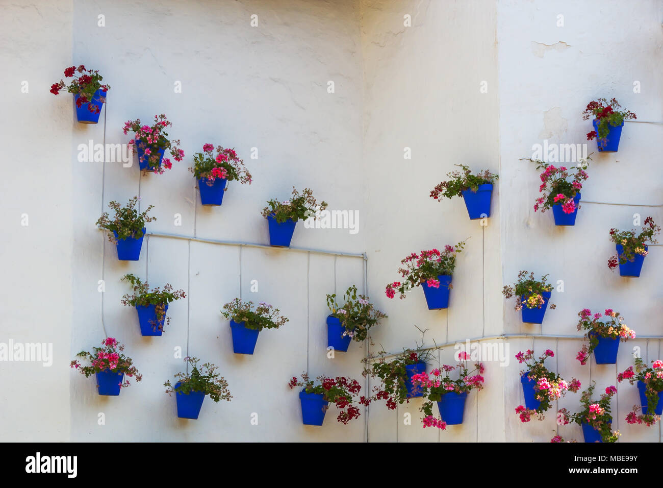 Traditional spanish flower pots on white wall - Stock Image & Spanish Flower Pots Stock Photos \u0026 Spanish Flower Pots Stock Images ...