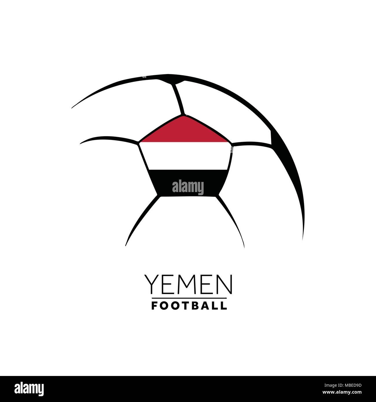 Soccer football minimal design with Yemen flag - Stock Image