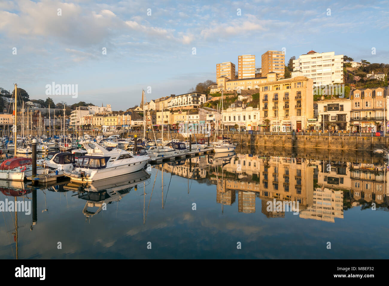Torquay Harbour Reflections - Stock Image