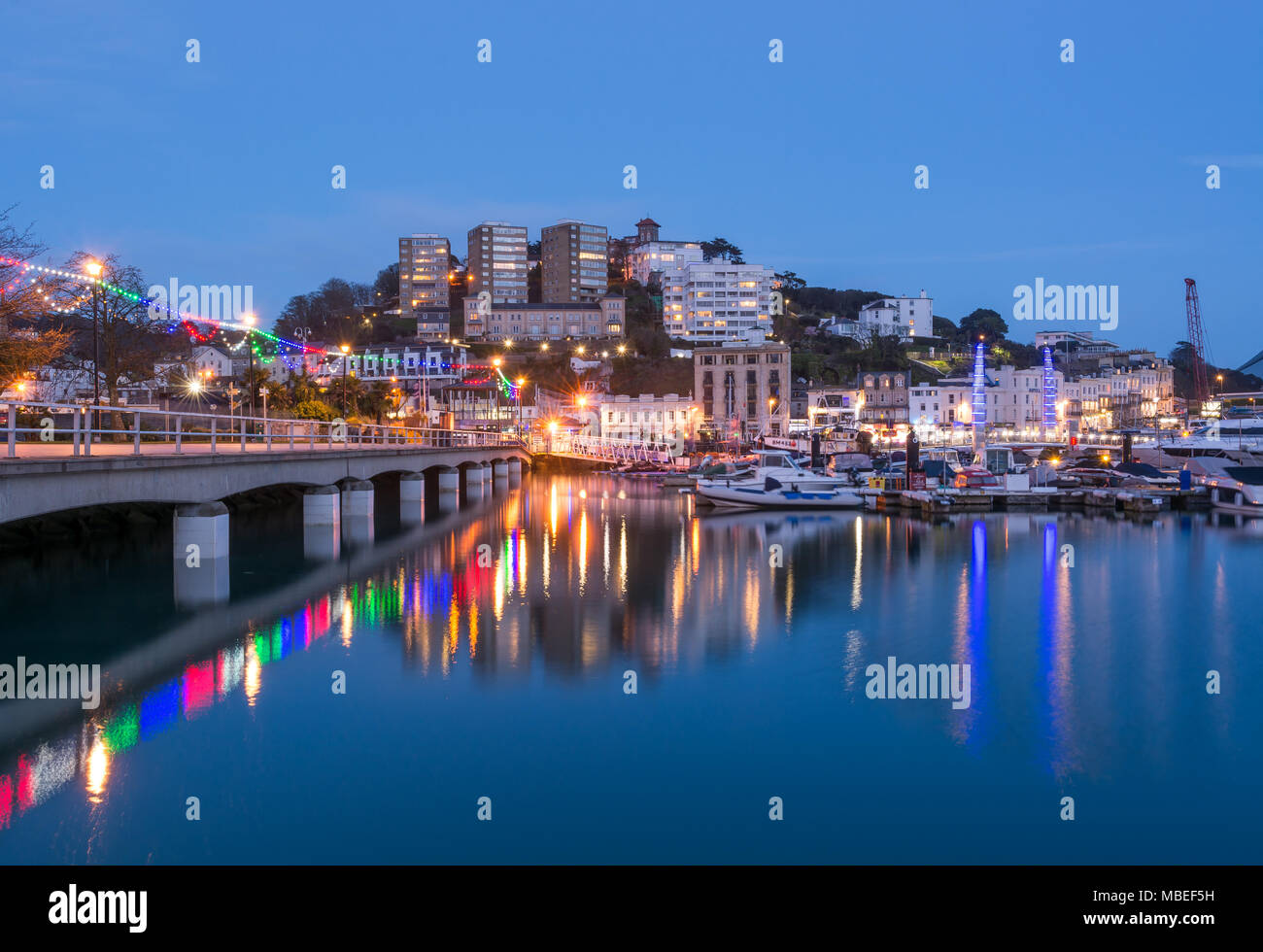 Torquay Harbour At Dusk - Stock Image
