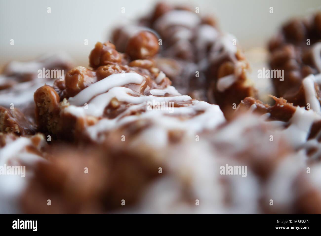 Mums gooey chocolate oat bars. - Stock Image