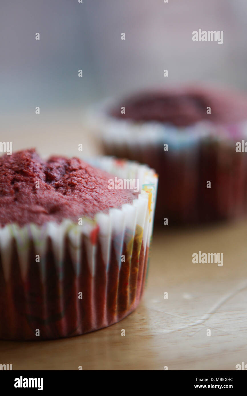 Mums homemade red velvet cupcakes. - Stock Image