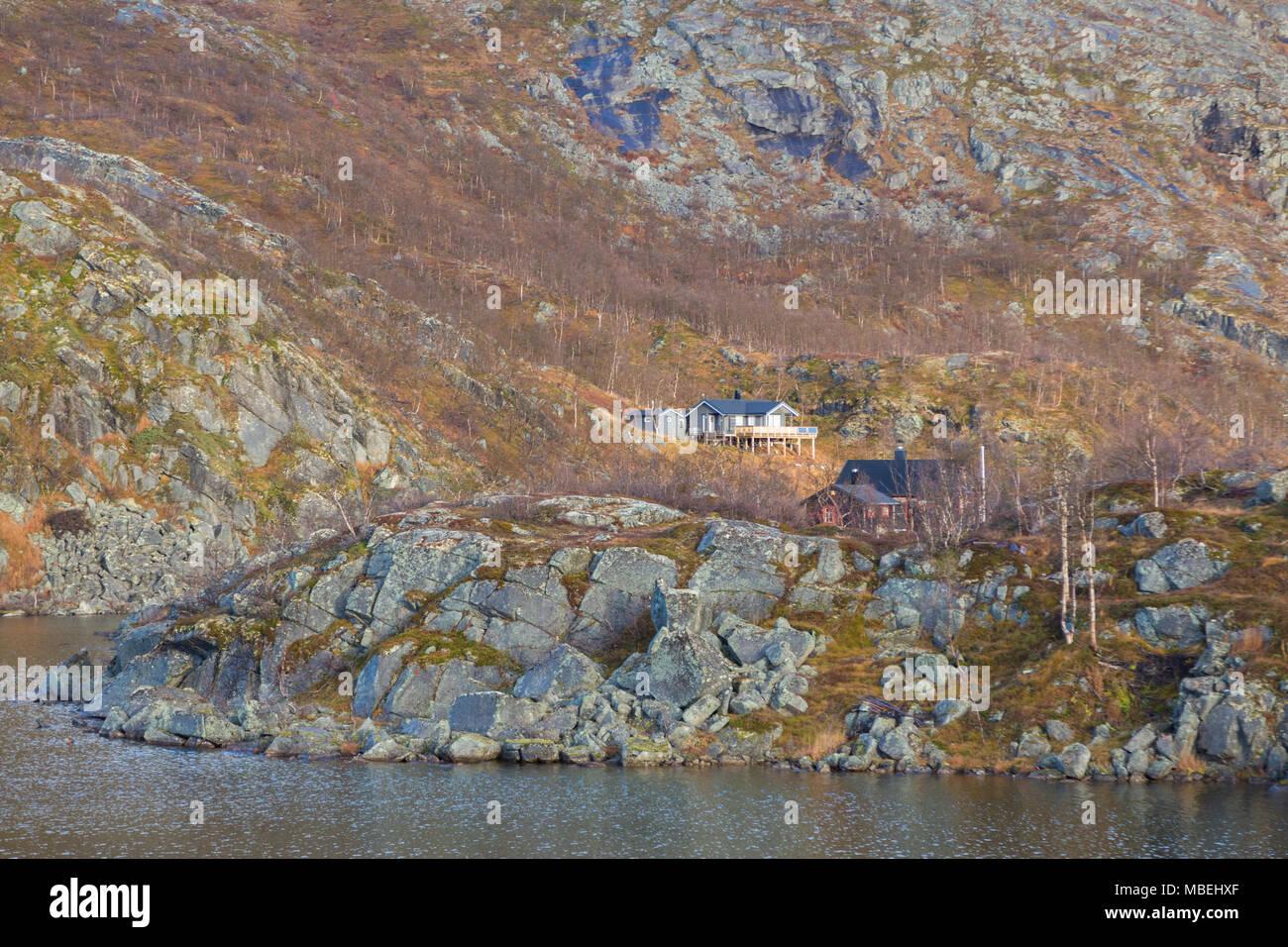 Tunturimökki Norjan Lapissa Ruotsin rajan tuntumassa - Stock Image