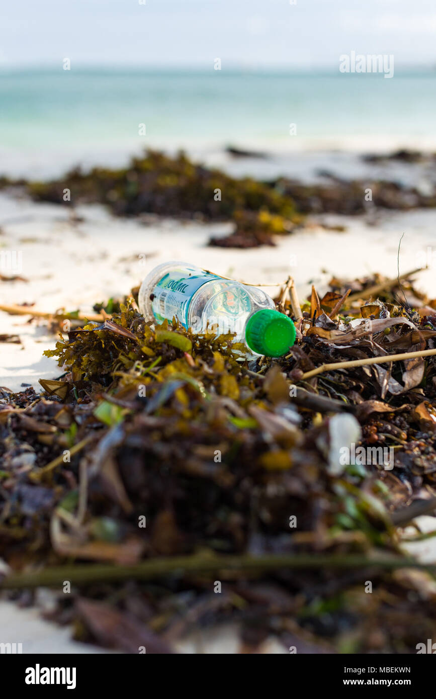 Plastic bottle waste lies washed up on the shore of a white sand beach - Stock Image