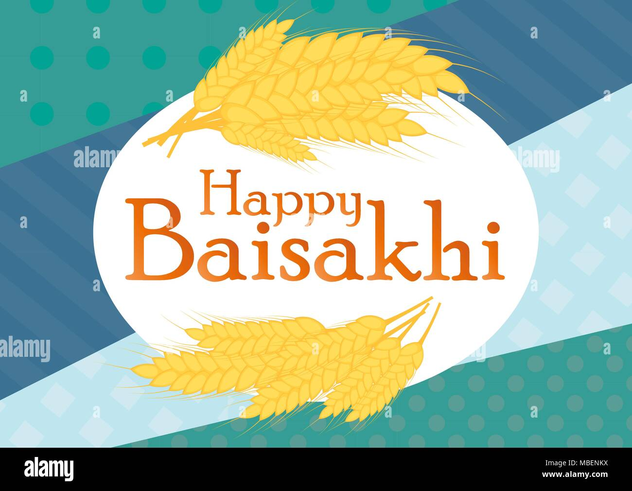 illustration of Happy Baisakhi Punjabi spring harvest festival - Stock Vector