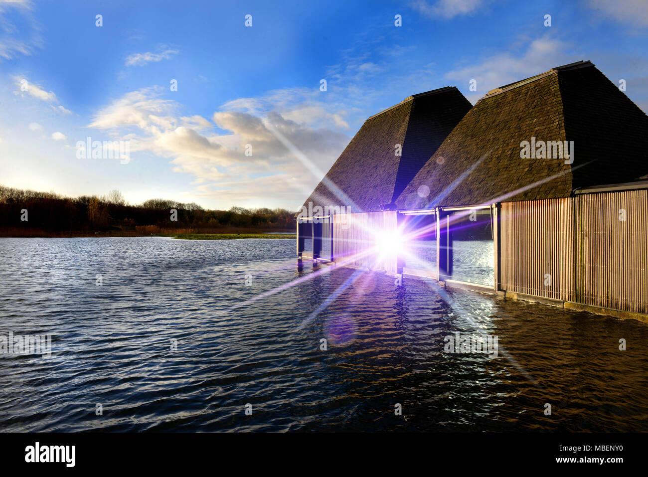 Brockholes, Wetland and woodland nature reserve, home to rare bird species, with a floating visitor village, Preston New Road, Preston PR5 0A - Stock Image