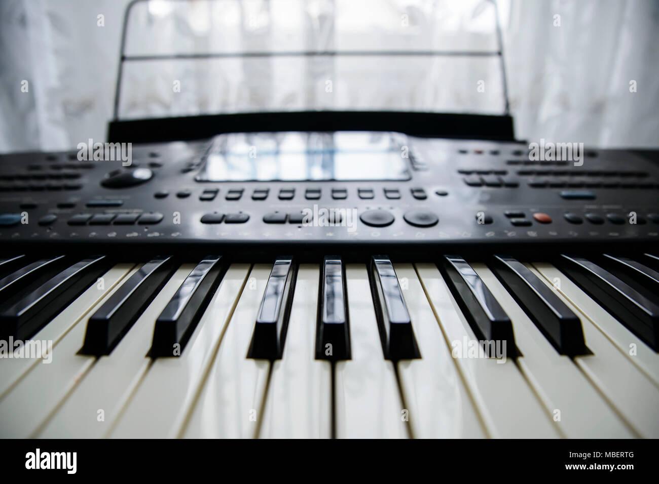 black and white keys of electronic synthesizer - Stock Image