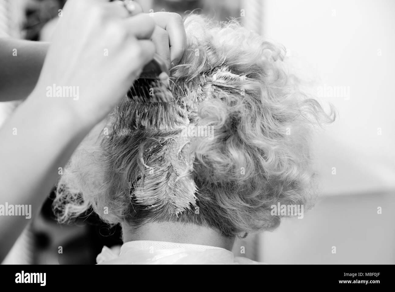 Beauty salon. Hairdresser dye  hair of female client - Stock Image
