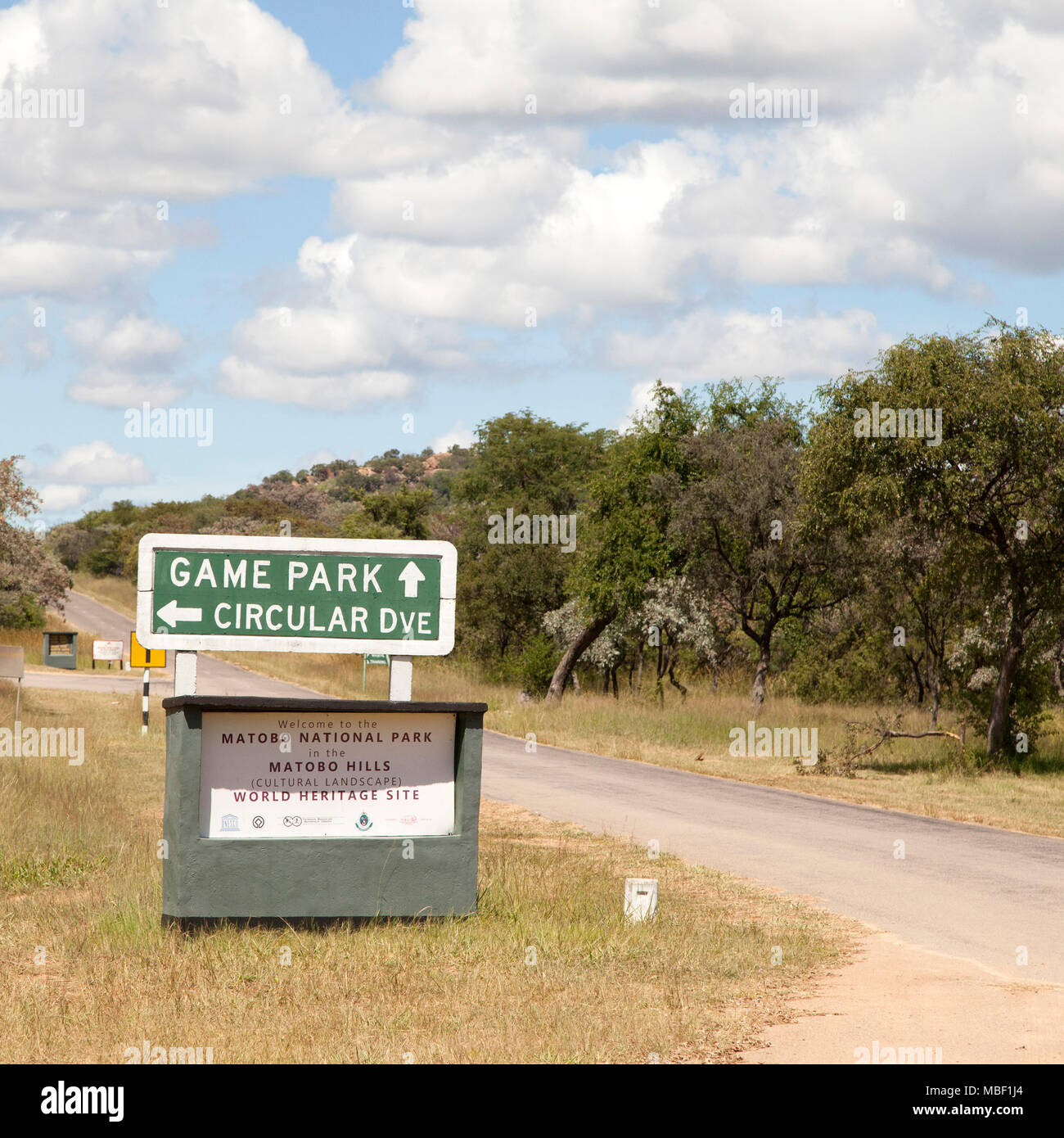 A sign for the Game Park and the Circular Road in Matobo National Park, Zimbabwe, The national park is in the south-west of the country. - Stock Image