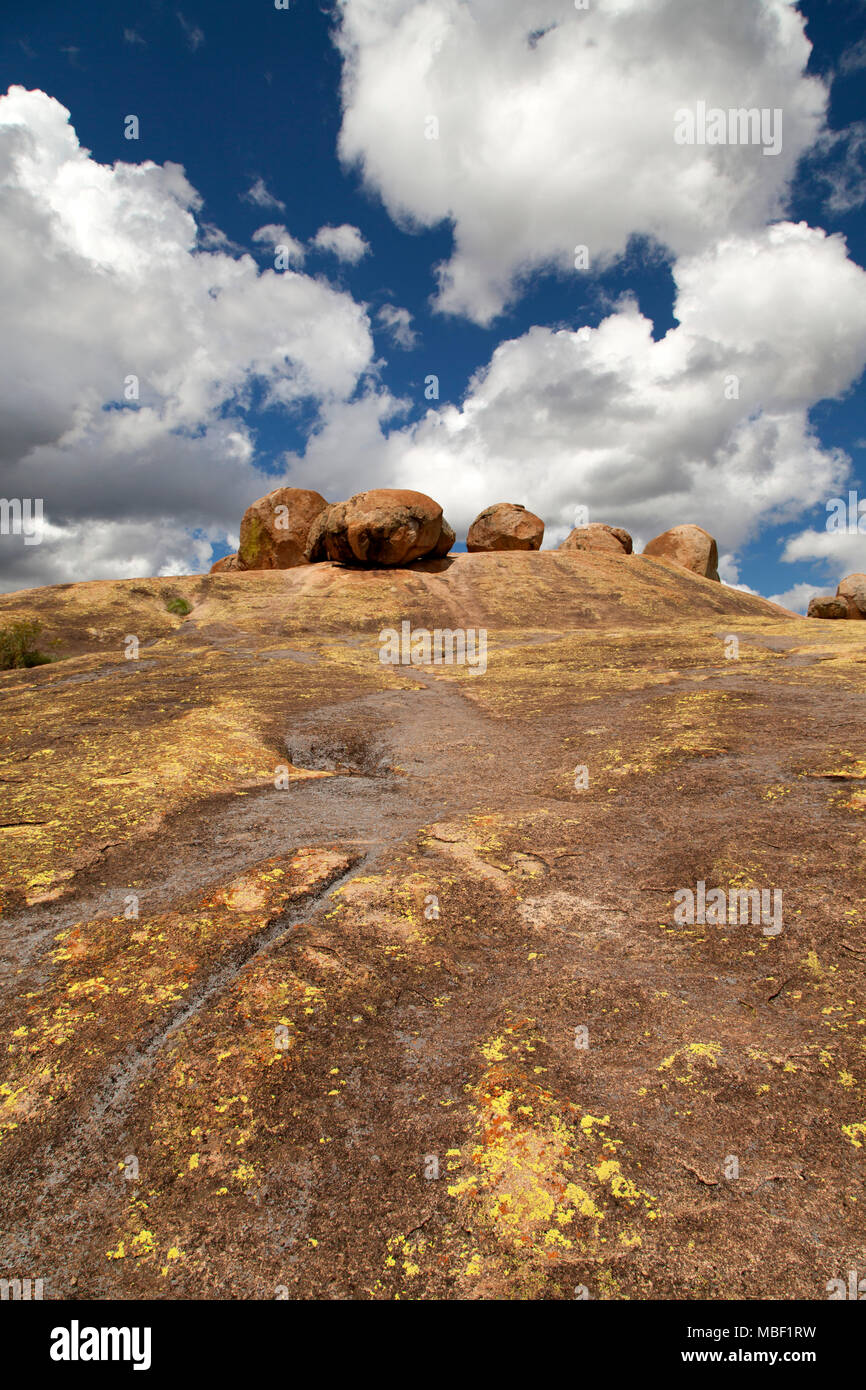 World's End, the resting place of Cecil John Rhodes in Matobo National Park, Zimbabwe. The country was once named Southern Rhodesia, after Rhodes. - Stock Image