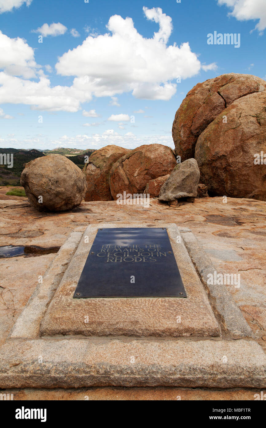 Grave of Cecil John Rhodes in Matobo National Park, Zimbabwe. The country was once named Southern Rhodesia, after Rhodes. - Stock Image