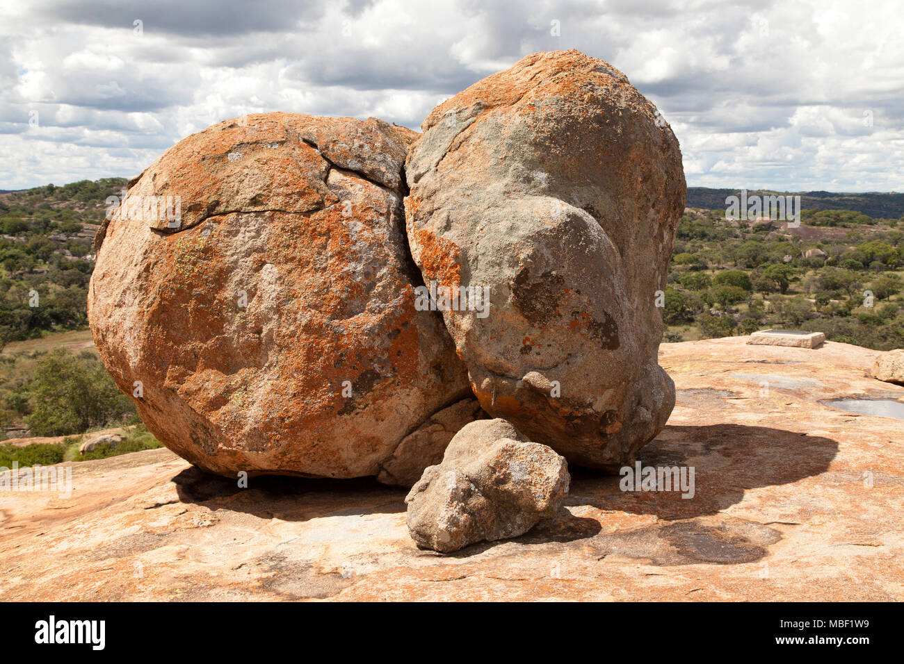 Boulder by the grave of Cecil John Rhodes in Matobo National Park, Zimbabwe. The country was once named Southern Rhodesia, after Rhodes. - Stock Image