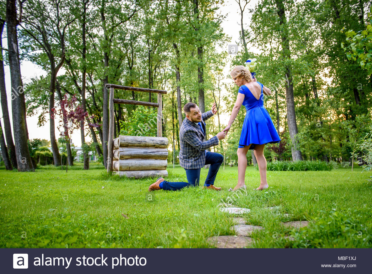 Wedding couple. She knows how to make a point - Stock Image