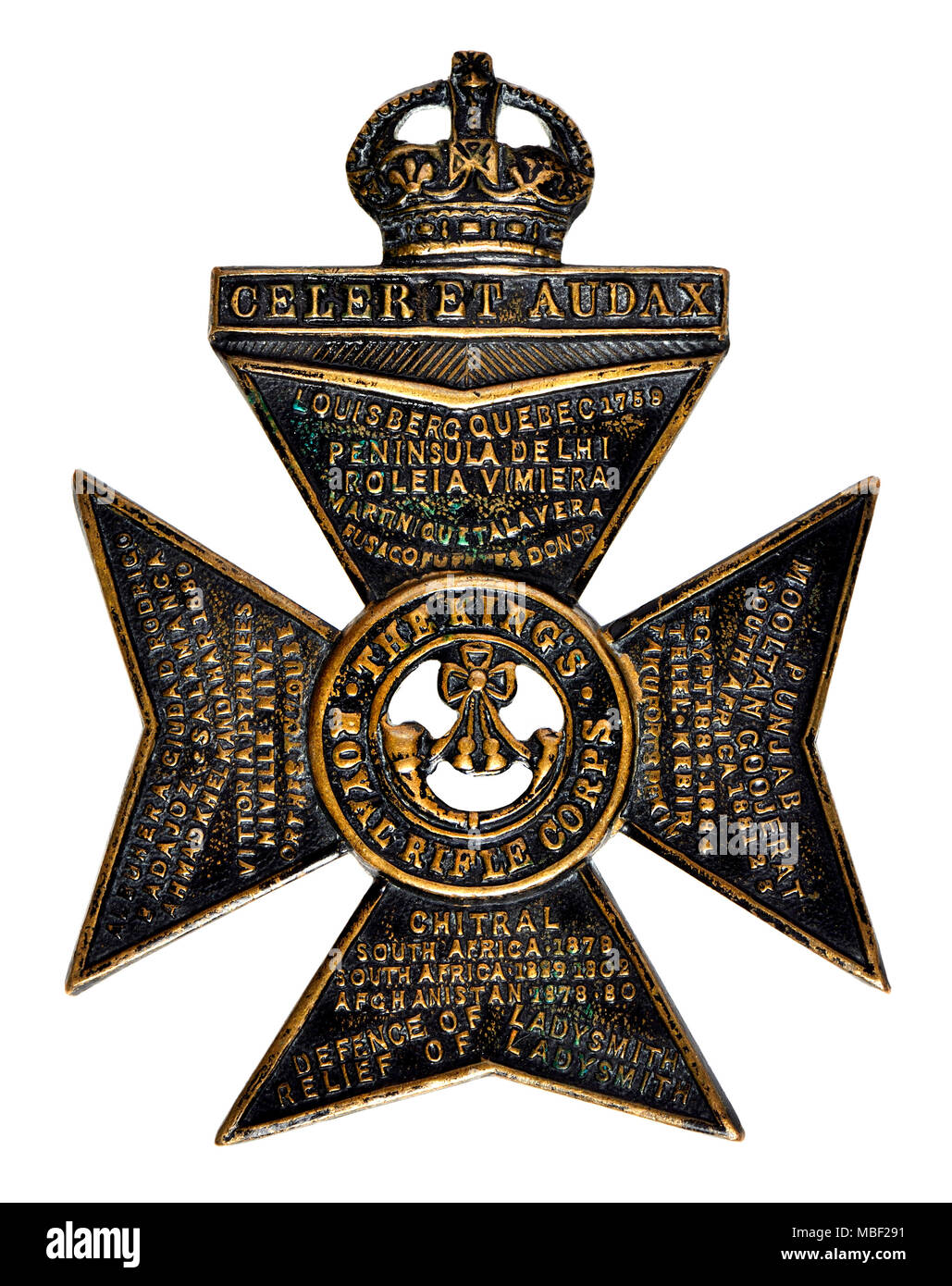 King's Royal Rifle Corps First World War cap badge - Stock Image