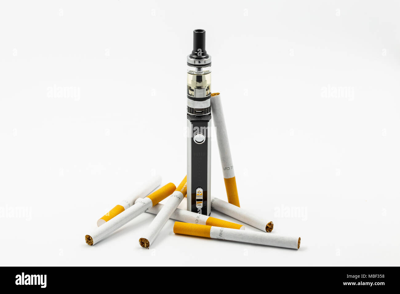 Conventiuonal and electronic cigarettes - Stock Image