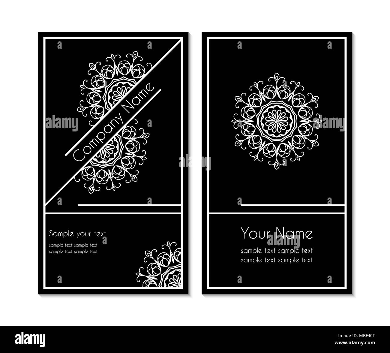 black and white business card with a circular ornamental design ...