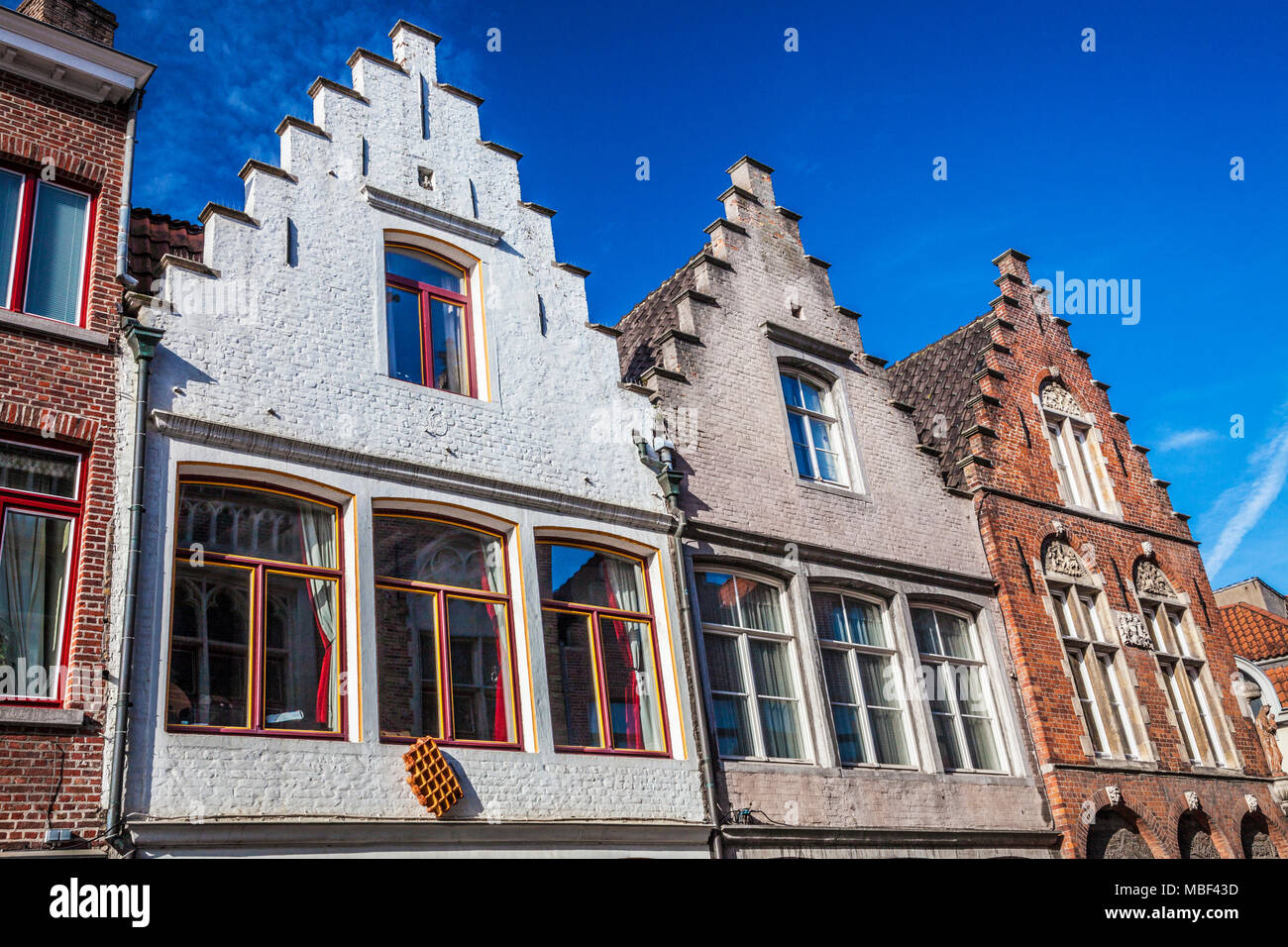 Historic patrician houses along the Langerei in Bruges (Brugge), Belgium. - Stock Image
