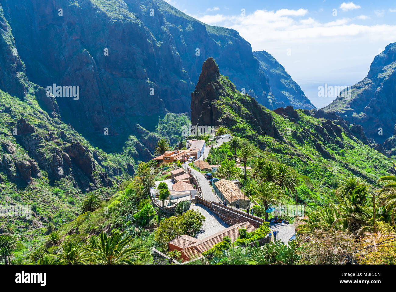 MASCA, TENERIFE - 20 MARCH 2018: Small mountain village Masca on the island of Tenerife is home to around 90 inhabitants. The village lies at an altit - Stock Image