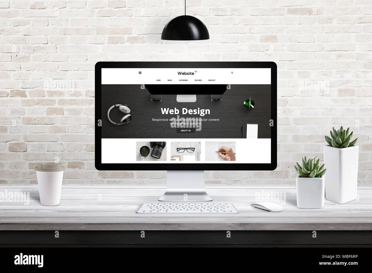 responsive web site design presentation on computer display modern