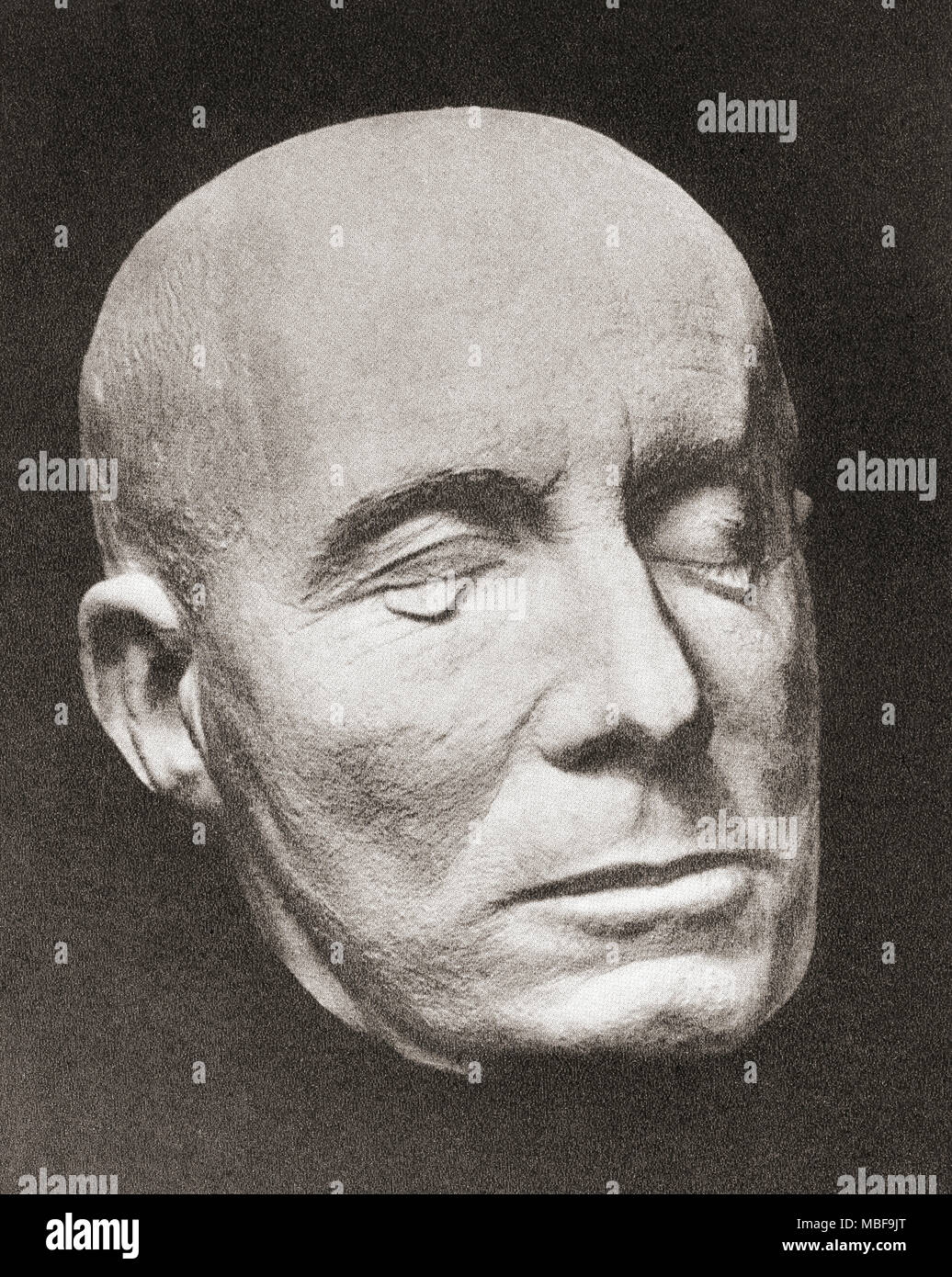 Rommel's death mask.  Erwin Rommel, aka Desert Fox,  1891 –1944.  German general, military theorist and field marshal in the Wehrmacht of Nazi Germany during World War II. - Stock Image