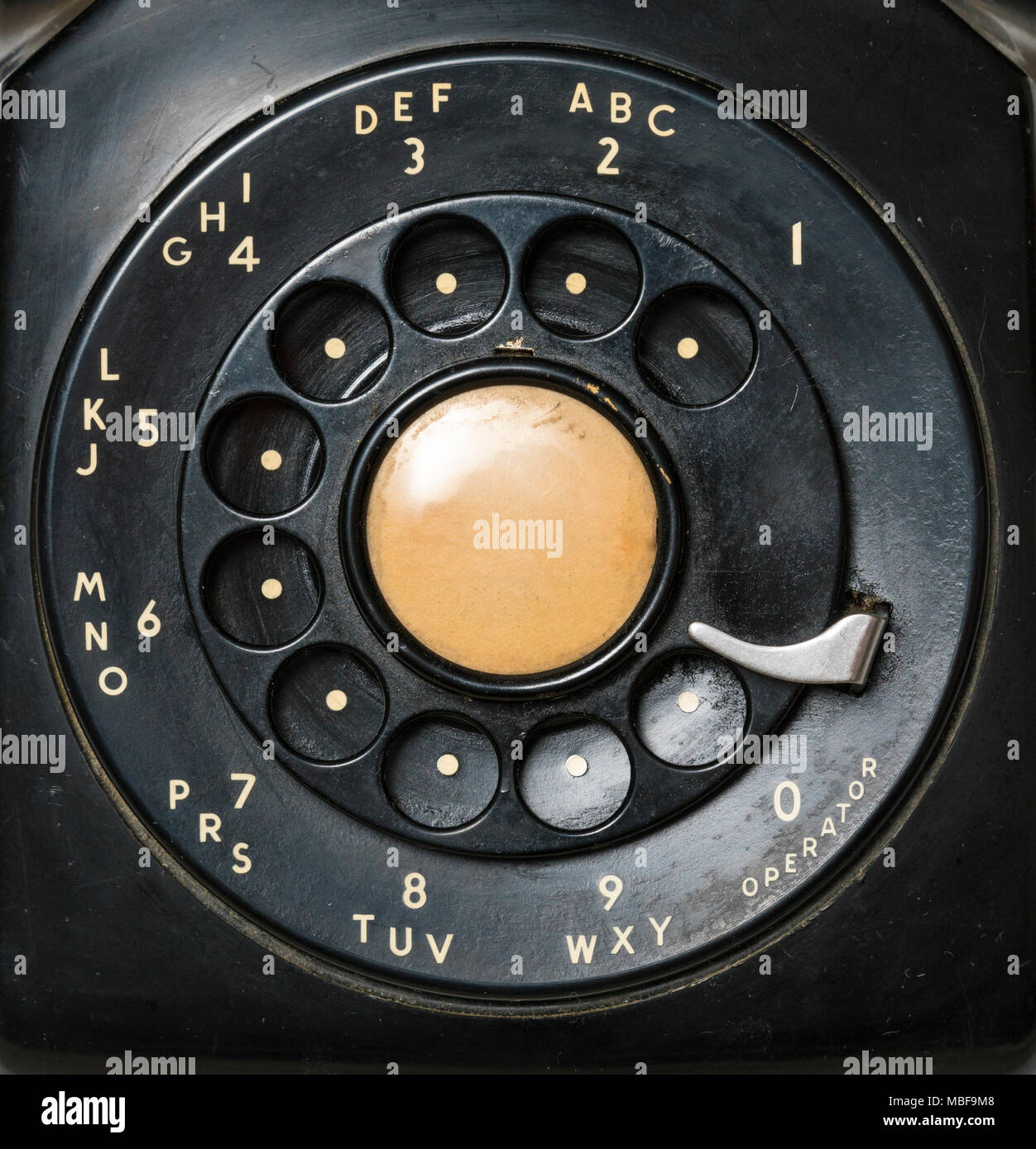Close-up of a retro rotary telephone dial - Stock Image