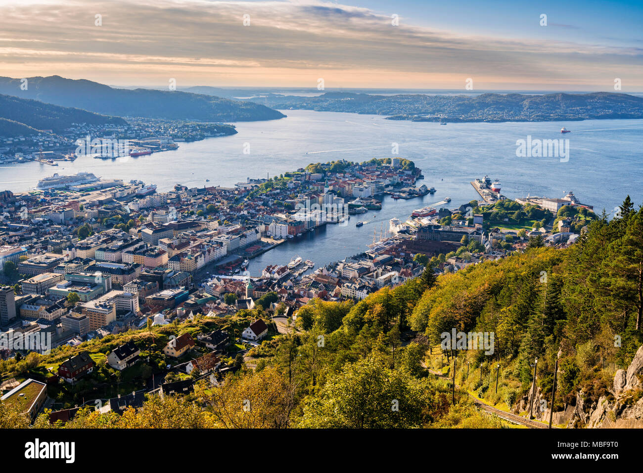 View of Bergen Norway cityscape from Floyen mountain at sunset - Stock Image