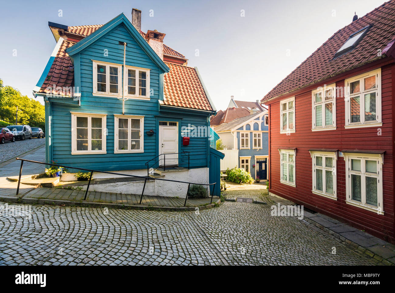 Bergen Norway, the old town with painted wooden houses - Stock Image