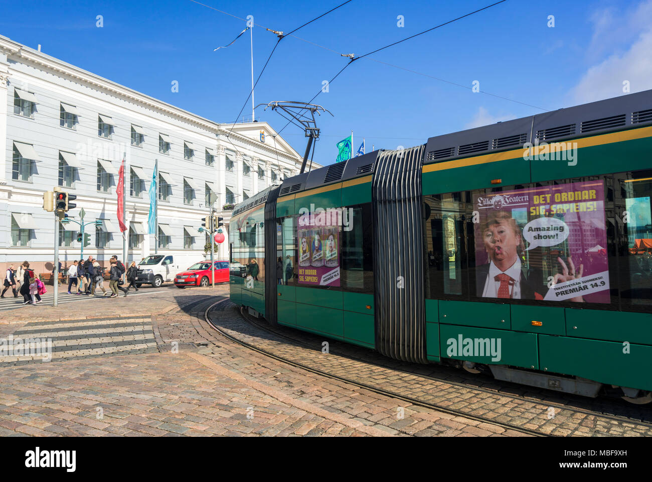 Tram outside the City Hall in Helsinki, Finland, Europe - Stock Image