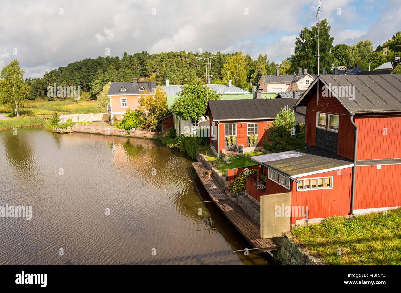 Painted wooden houses in the old town of Porvoo in Finland - Stock Image