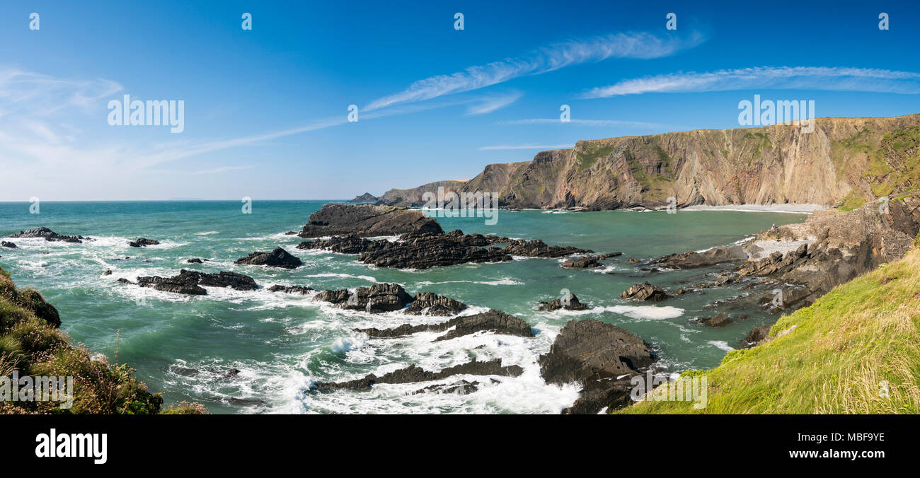 The rocky bay at Hartland Quay, Devon, England in summer - Stock Image