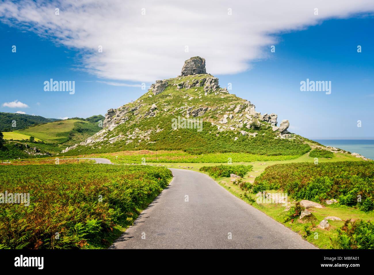 Landscape of Valley of the Rocks in Exmoor National Park, Devon, England UK - Stock Image