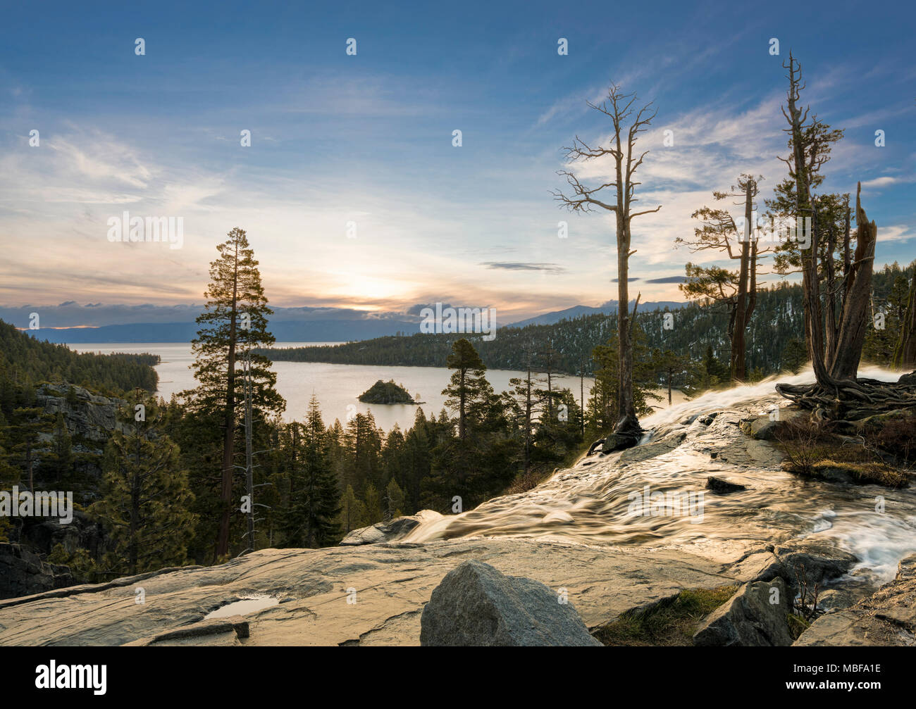 Sunset at Emerald Bay on Lake Tahoe from the top of Lower Eagle Falls, Sierra Nevada, California, USA - Stock Image