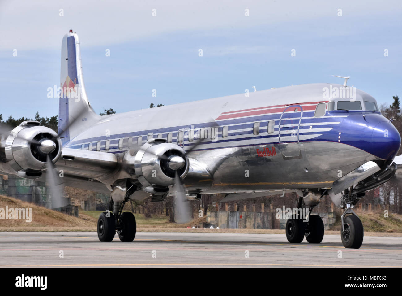 Douglas DC-6B, Red Bull Team, airliner, aircraft, plane - Stock Image