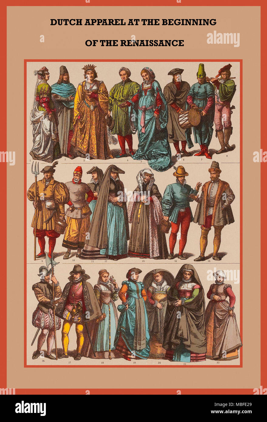 Dutch Apparel at the beginning of the Renaissance - Stock Image