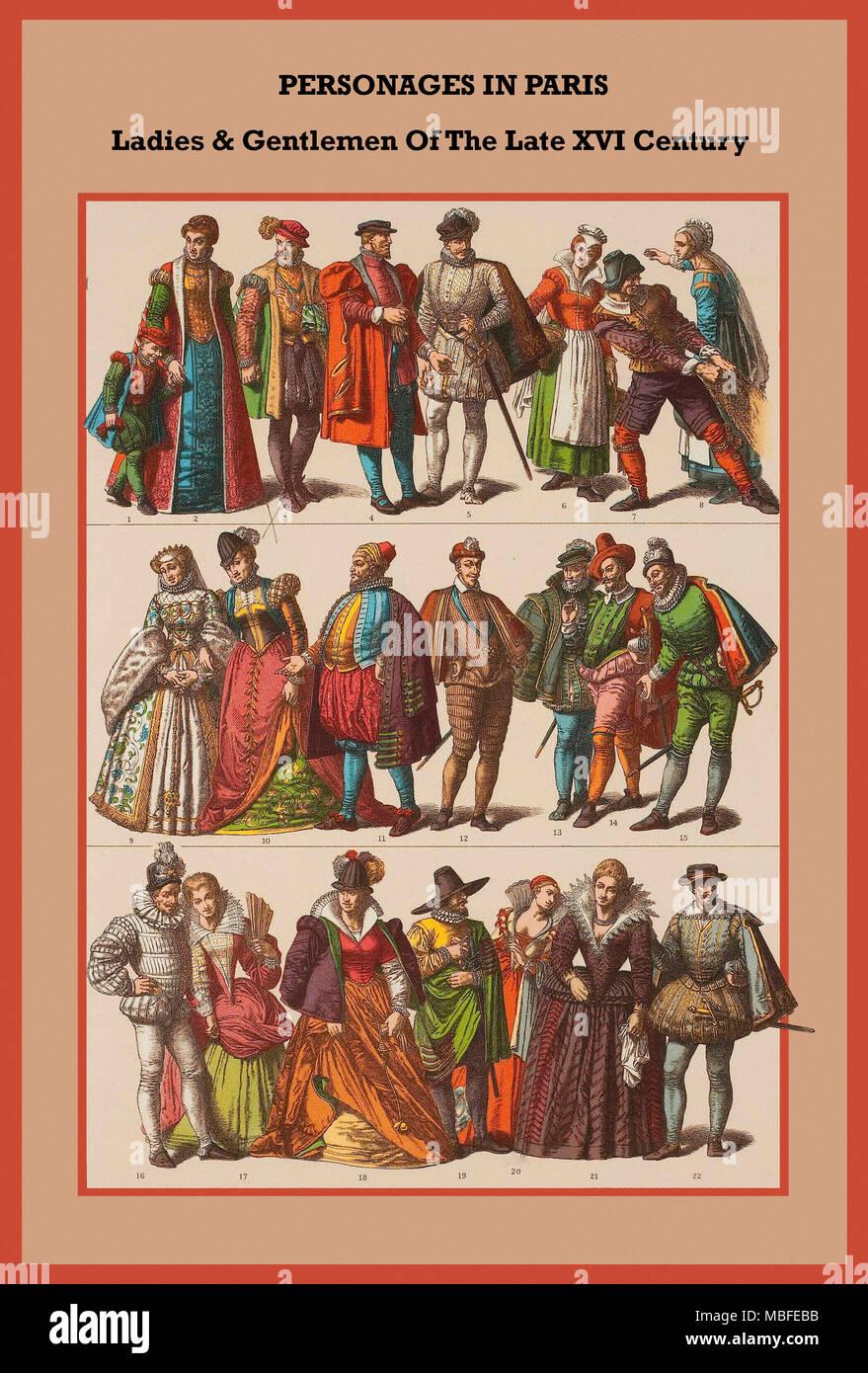 Personages in Paris ladies & gentlemen of the late XVi Century, - Stock Image
