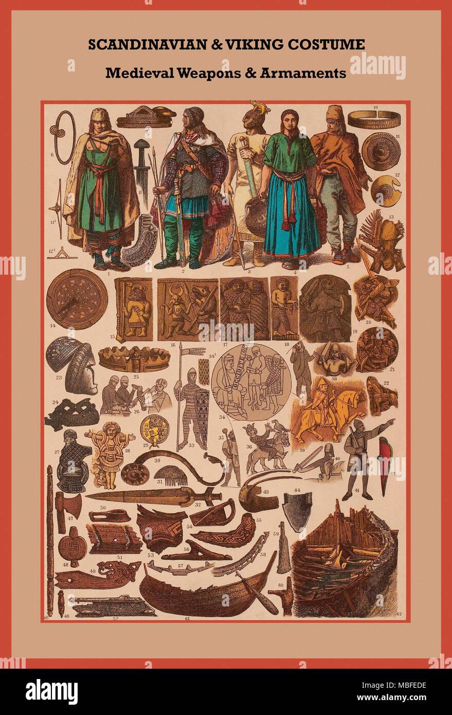 Scandinavian & Viking costume Medieval weapons & armaments - Stock Image