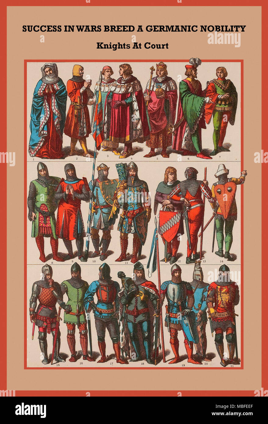 Germanic Nobility & knights at court - Stock Image
