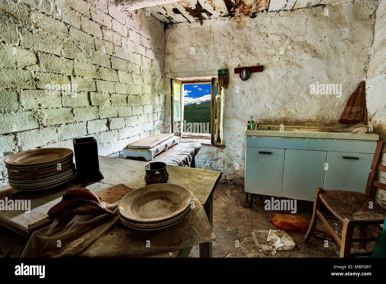 Abandoned House Kitchen In The Alpine Village Of Mindino Municipality Garessio Piedmont Italy