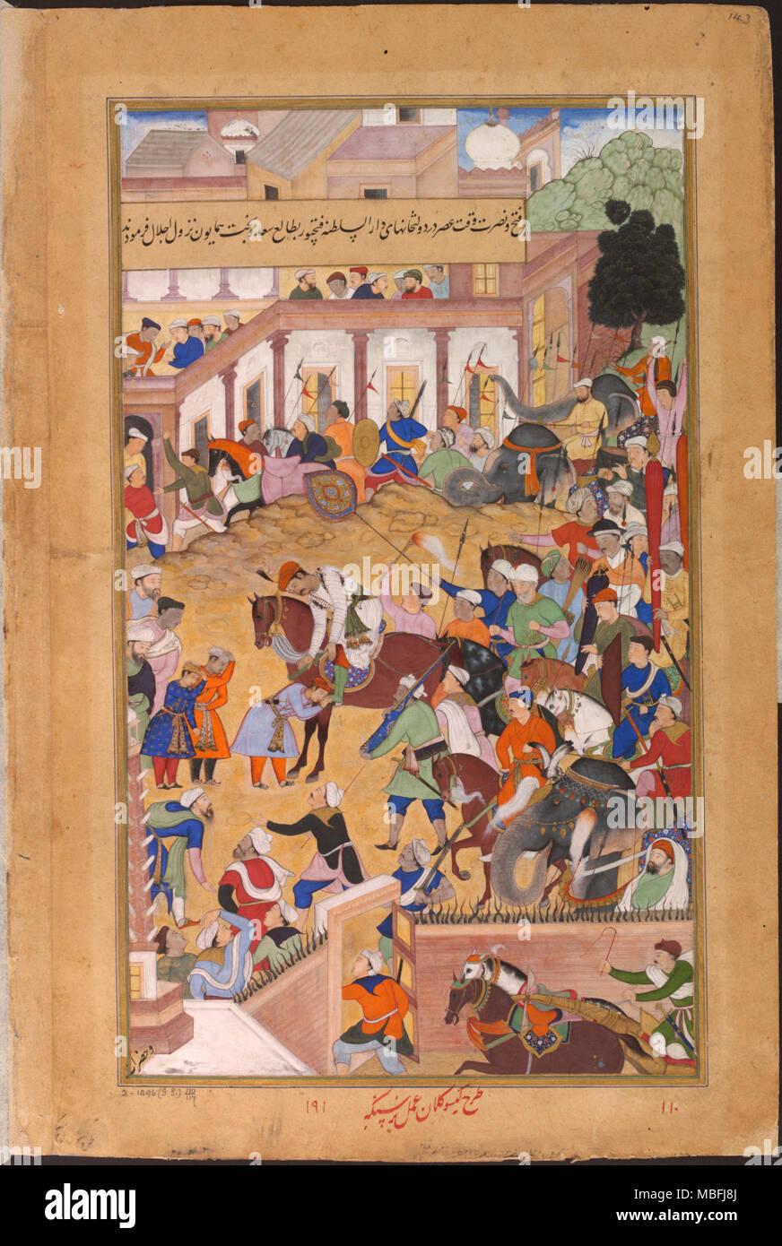 Akbar receiving his sons at Fathpur - Stock Image
