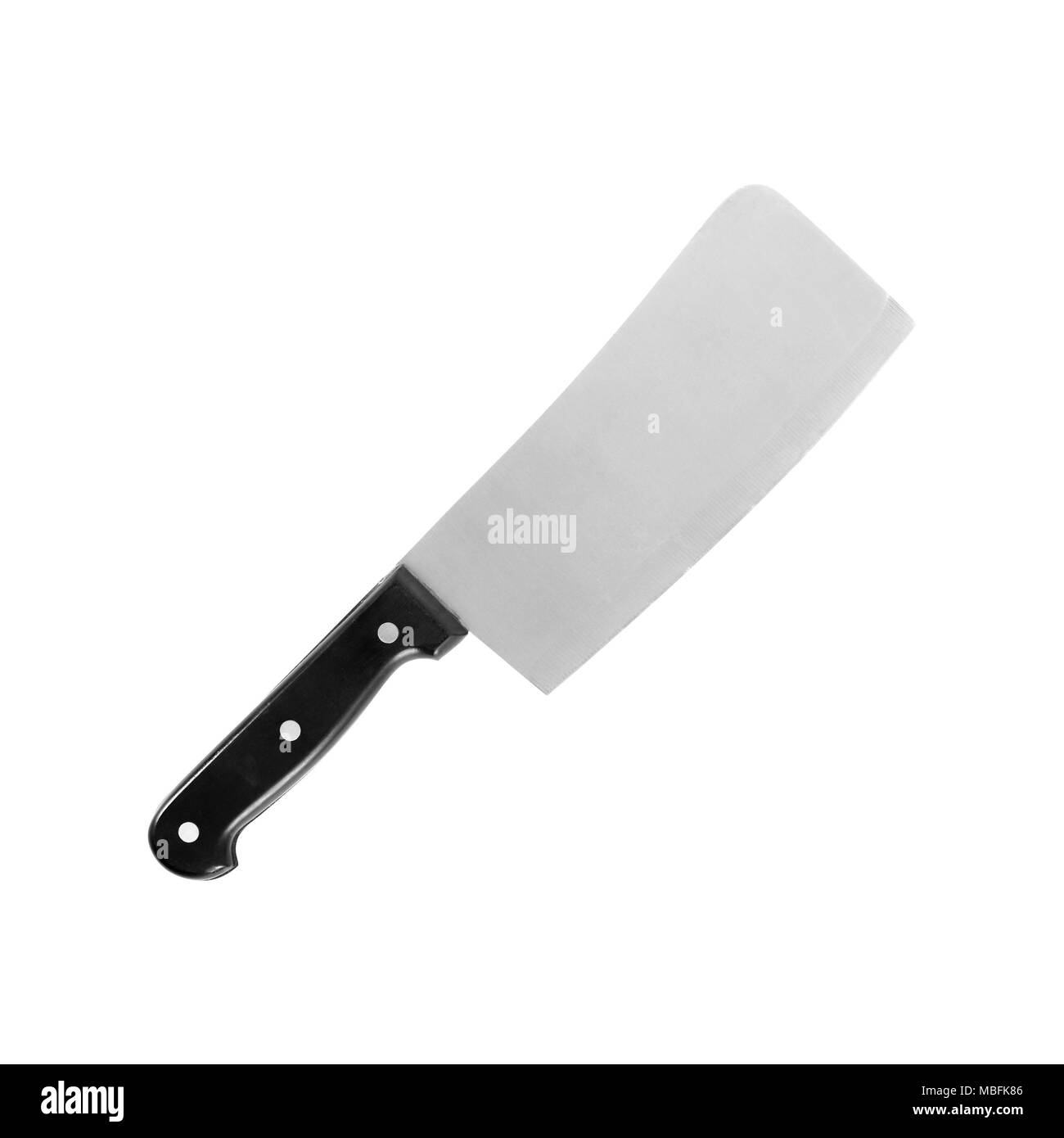 Kitchen accessories - Big kitchen knife isolated on a white background. - Stock Image