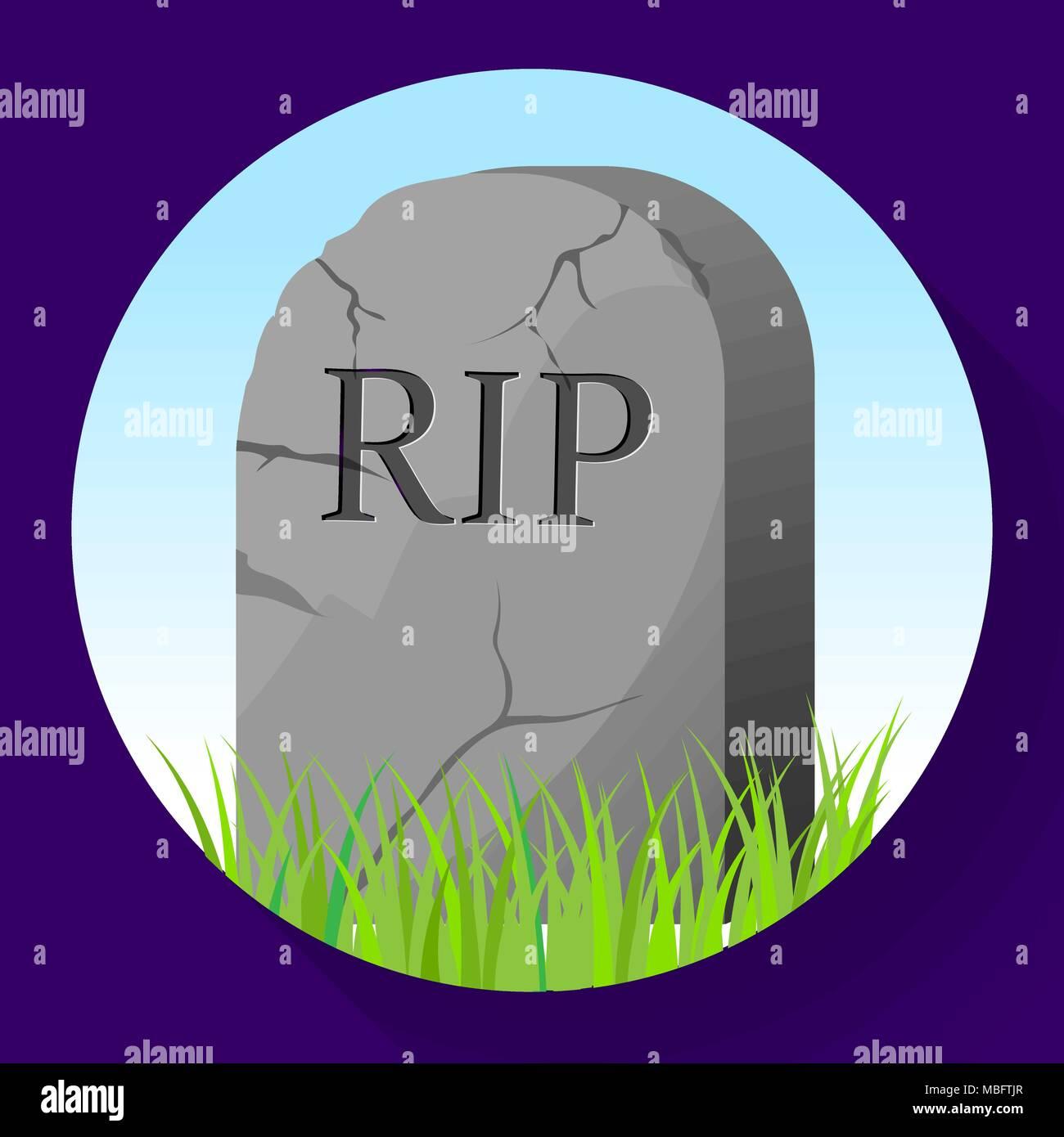 Headstone icon in cartoon style. Funeral ceremony symbol stock vector illustration. - Stock Vector