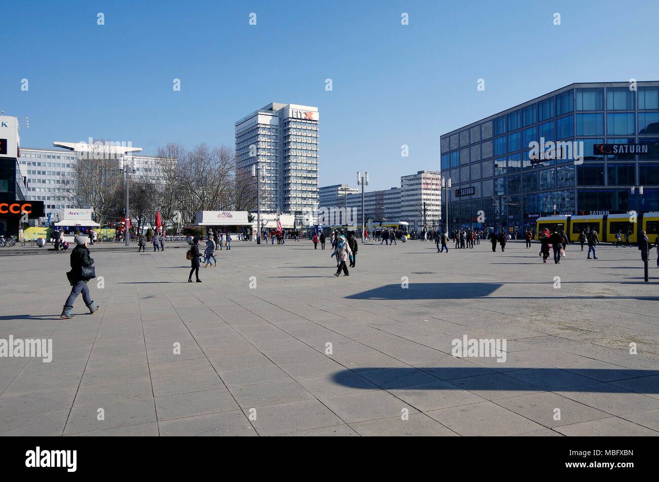 Alexanderplatz, traditional hub of Berlin's proletarian east, site of a million strong demonstration demanding reforms just days before wall came down - Stock Image