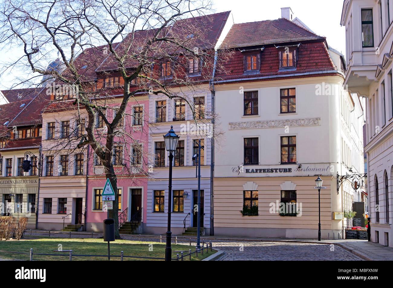 Buildings in Nikolaikirchplatz Berlin, rebuilt behind accurate reconstructions of houses destroyed in World War 2 - Stock Image